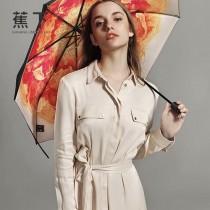 Banana Umbrella-02-2 蕉下方便實用花卉印花防紫外線自動折疊晴雨傘小黑傘