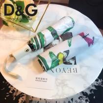 D&G雨傘-01 杜嘉班三折全自動開收納鋼桿纖維骨架綠芭蕉葉印花雨傘