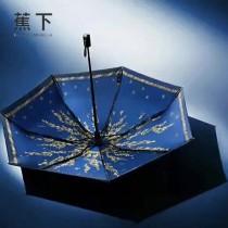 Banana Umbrella-02 蕉下方便實用花卉印花防紫外線自動折疊晴雨傘小黑傘