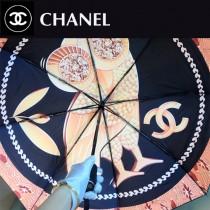 CHANEL雨傘-03 香奈兒維納斯的愛鳥簡約唯美的貓頭鷹圖案全黑鋼材質全自動折疊晴雨傘