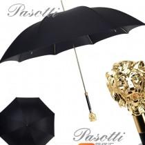 Pasotti-01 萌塔匯時尚個性男女款原單金色獅子頭手把防曬半自動長柄晴雨傘
