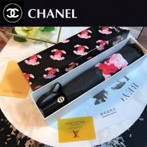 CHANEL雨傘-05 香奈兒唯美的香奈兒LOGO中間加上色彩艷麗奪目的鮮花圖案全黑鋼材質全自動折疊晴雨傘