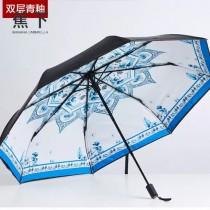 Banana Umbrella-02-3 蕉下方便實用花卉印花防紫外線自動折疊晴雨傘小黑傘