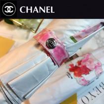 CHANEL雨傘-04 香奈兒唯美的香奈兒LOGO中間加上色彩艷麗奪目的鮮花圖案全黑鋼材質全自動折疊晴雨傘