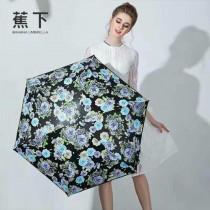 Banana Umbrella-01 蕉下花卉印花防紫外線迷你自動折疊晴雨傘小黑傘