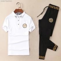 歐美大牌2018夏季新款進口絲光棉材質短袖長褲運動套裝休閑運動套裝