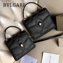 BVLGARI 38329-4 專櫃新品衍縫網格設計原單彩色蛇頭扣手提單肩斜挎包風琴包