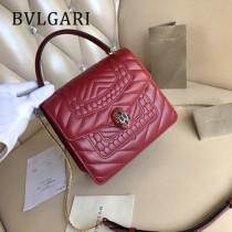 BVLGARI 38329-2 專櫃新品衍縫網格設計原單彩色蛇頭扣手提單肩斜挎包風琴包