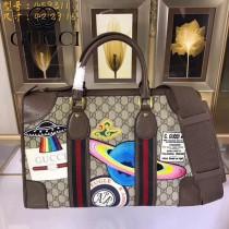 GUCCI-459311-04  古馳2018潮流時尚新款經典原版皮刺繡旅行袋 手提包