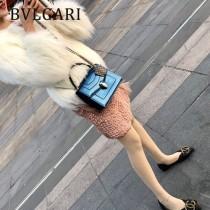 BVLGARI 38330-9 歐洲限量版原單意大利蜥蜴紋手提單肩斜挎包