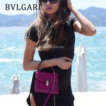BVLGARI 38329-6 專櫃最新設計Serpenti Forever原單黑色縞瑪瑙配飾手提單肩包