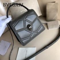 BVLGARI 38329-5 專櫃新品衍縫網格設計原單彩色蛇頭扣手提單肩斜挎包風琴包
