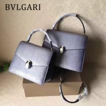 BVLGARI 38330-10 歐洲限量版原單意大利蜥蜴紋彩色蛇頭扣手提單肩包