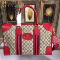 GUCCI-459311-01  古馳2018潮流時尚新款經典原版皮旅行袋 手提包