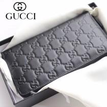 GUCCI-308009 古馳時尚新款原版皮壓花男士經典休閒百搭拉鏈長夾