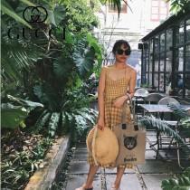 GUCCI-616929 古馳時尚新款超萌博物館的喵咪復古風麻布購物袋