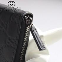 GUCCI-308009-01 古馳時尚新款原版皮壓花男士經典休閒百搭拉鏈長夾