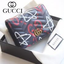 GUCCI-449421-01 古馳時尚新款原版皮經典休閒百搭涂鸦卡包 零钱包
