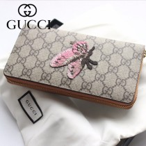 GUCCI-456863 古馳時尚新款原版皮經典蝴蝶系列拉链长夹 拉链錢包