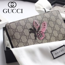 GUCCI-456863-02 古馳時尚新款原版皮經典蝴蝶系列拉链长夹 拉链錢包