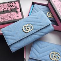 GUCCI-443436-03 古馳時尚新款原版皮經典休閒百搭2折長夾 2折钱包