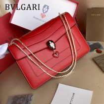Bvlgari 284758 專櫃全新情人節限定款原單彩色琺瑯蛇頭扣單肩斜挎包