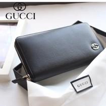 GUCCI-408801 古馳時尚新款原版皮經典休閒百搭男士拉链长夹