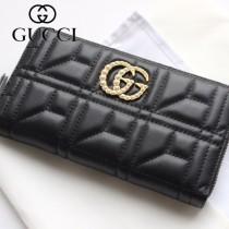 GUCCI-443123-02 古馳時尚新款原版皮經典休閒百搭拉鏈長夾 拉鏈錢包