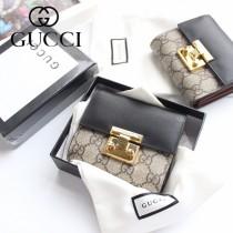 GUCCI-453155-02 古馳時尚新款原版皮經典休閒百搭短夹 卡包 零钱包