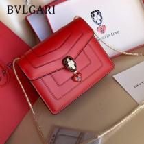 Bvlgari-0016 全新情人節限定原單紅心琺瑯裝飾蛇頭扣單肩斜挎包