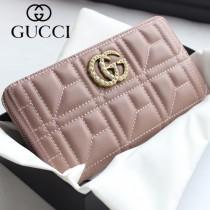GUCCI-443123-04 古馳時尚新款原版皮經典休閒百搭拉鏈長夾 拉鏈錢包