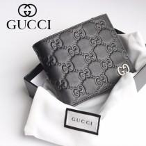 GUCCI-473922-01 古馳時尚新款原版皮經典時尚百搭卡包 兩折短夾