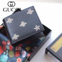 GUCCI-495055 古馳時尚新款原版皮經典時尚可愛蜜蜂系列兩折短夹