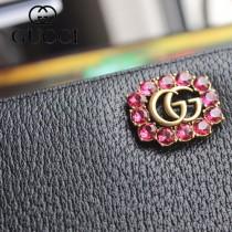 GUCCI-499779-03 古驰时尚新款原版皮時尚經典復古黃銅五金LOGO拉鏈錢夾