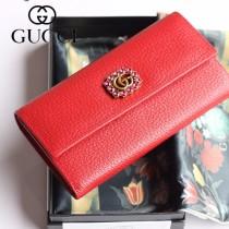 GUCCI-499779-02 古驰时尚新款原版皮時尚經典復古黃銅五金LOGO錢夾