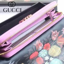 GUCCI-499793 古馳時尚新款原版皮時尚經典復古黃銅五金LOGO手包 拉链长夹