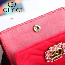 GUCCI-499783-02 古馳時尚新款原版皮時尚經典復古黃銅五金LOGO卡包 零錢包