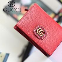 GUCCI-499783-04 古馳時尚新款原版皮時尚經典復古黃銅五金LOGO卡包 零錢包