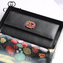 GUCCI-499779 古驰时尚新款原版皮時尚經典復古黃銅五金LOGO錢夾