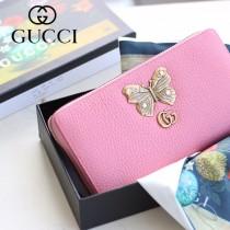 GUCCI-499363-02 古驰时尚新款原版皮經典时尚蝴蝶图案系列手包 拉链长夹