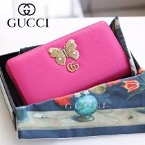 GUCCI-499363-01 古驰时尚新款原版皮經典时尚蝴蝶图案系列手包 拉链长夹