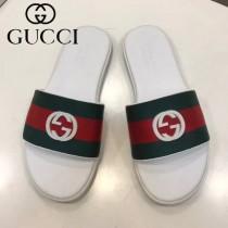 GUCCI鞋子-06 古馳新款進口織帶雙Glogo圖案一字拖拖鞋