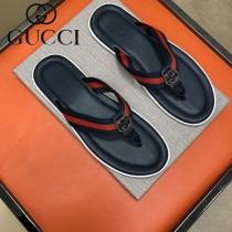 GUCCI鞋子-010 古馳新款原版復刻雙g配織帶男士人字拖拖鞋