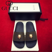 GUCCI鞋子-07 古馳夏季新款金屬扣豹子頭系列手工打釘情侶款拖鞋