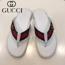 GUCCI鞋子-02 古馳新款進口織帶刺繡圖案人字拖拖鞋