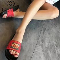 GUCCI鞋子-034 古馳人氣經典系列男女款印花一字拖拖鞋