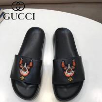 GUCCI鞋子-016 古馳潮流男士小狗刺繡圖案一字拖拖鞋