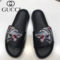GUCCI鞋子-014 古馳潮流男士狼頭刺繡圖案一字拖拖鞋