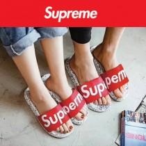 Supreme鞋子-01 Supreme街頭潮流沙灘拖鞋紅白情侶款拖鞋