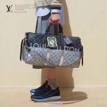 LV M41418 專櫃限量版男士KEEPALL 45原單拼色老花圖案旅行袋行李袋